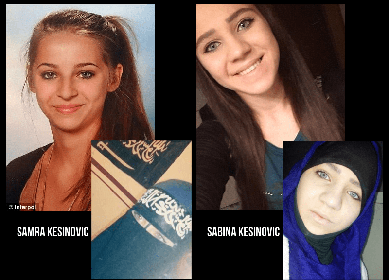 Left is Samra Kesinovic, 16, who is thought to have fled to Syria to join the Islamic State. On the right is 15-year-old Sabina Selimovic who went with her - it is believed one of the girls is now dead
