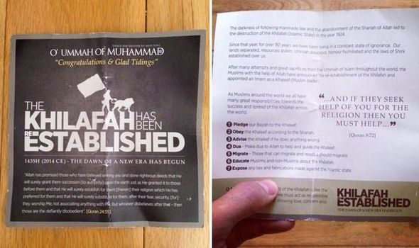 SUPPORTERS of a brutal jihadist group handed out recruitment leaflets on one of London's busiest shopping streets