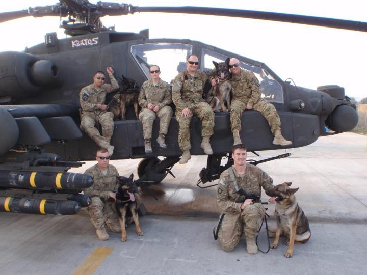 The duo with their crew serving in Afghanistan.