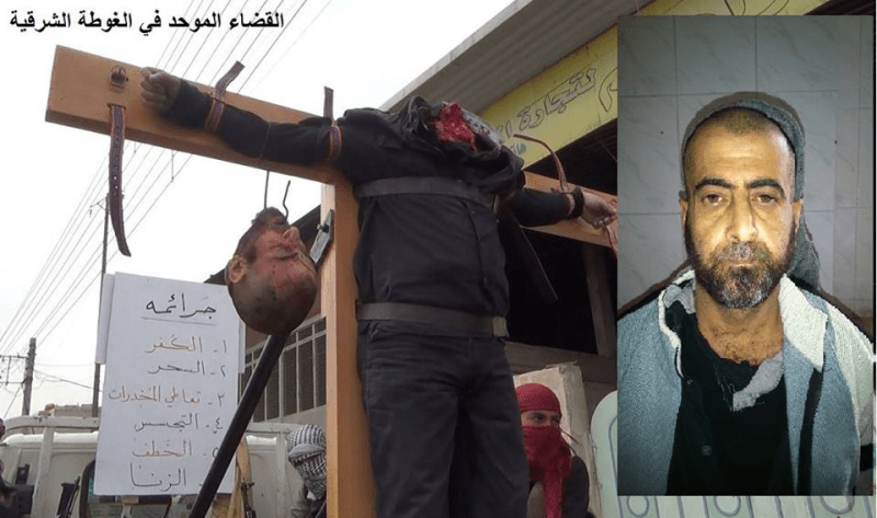 Islamic State (ISIS) Muslim savages crucify a man and then behead