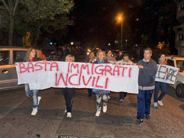 """Sign says """"Enough of uncivilized immigrants"""""""