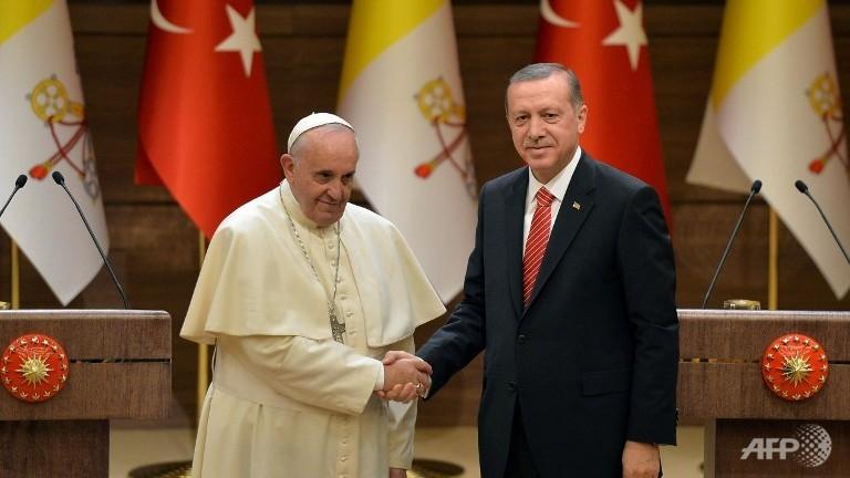 Papa con el presidente islamista de Turquía, Recep Erdogan