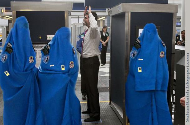 Buena idea de no conseguir en cualquier plano que tiene agentes de seguridad musulmanas en la puerta