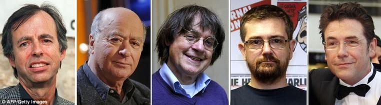 Rostros de algunas de las víctimas: Entre los periodistas asesinados fueron (de izquierda a derecha) redactor jefe adjunto de Charlie Hebdo Bernard Maris y dibujantes Georges Woliński, Jean CABUT, alias Cabu, Stephane Charbonnier, quien también es editor en jefe, y Bernard Verlhac , también conocido como Tignous