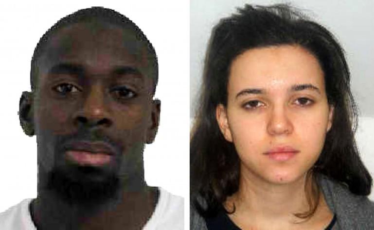 Kosher pistolero mercado Amedy Coulibaly (izquierda) y cómplice Hayet Boumddiene