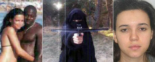 From bikini babe to burka-clad terrorist with a crossbow: 'Wife' of Kosher supermarket killer becomes France's most wanted woman after going on the run