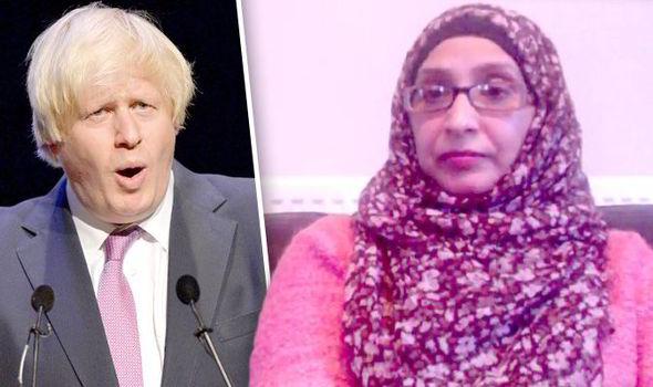 Boris Johson (left) & Muslim Women's Network Mussurut Zia (right)