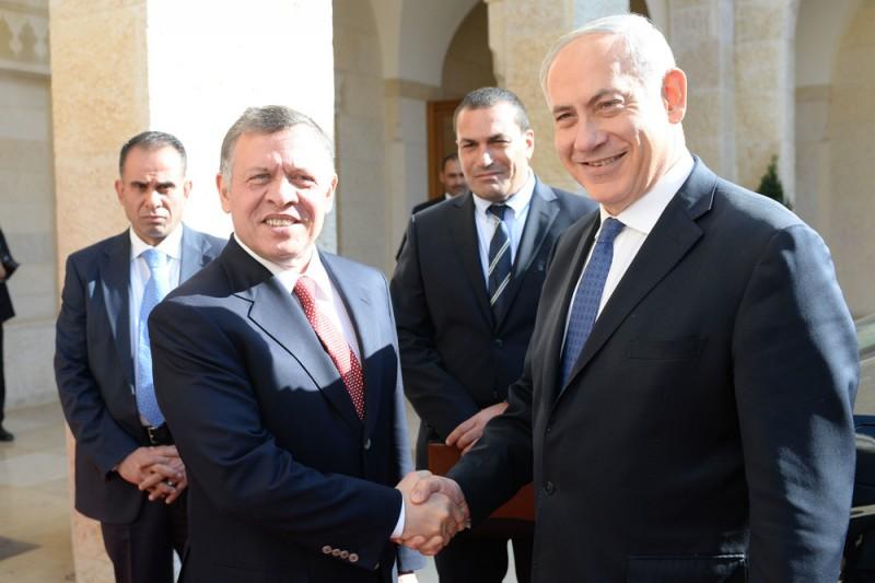 El rey Abdullah de Jordania y PM Benjammin Netanyahu de Israel