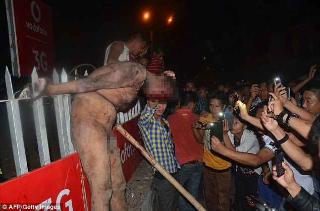 The gang overpowered security at the Central Jail in the city of Dimapur and grabbed the man before beating him to death.