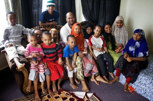 The average size Somali Muslim family in America