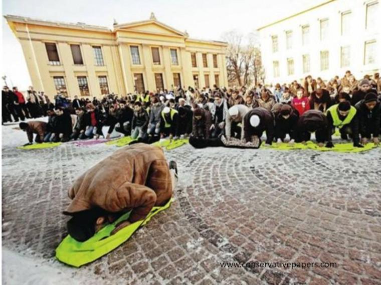Manifestantes musulmanes se reúnen en Plaza de la Universidad de Oslo para protestar contra los dibujos de Mahoma, llamando a Noruega del 9/11