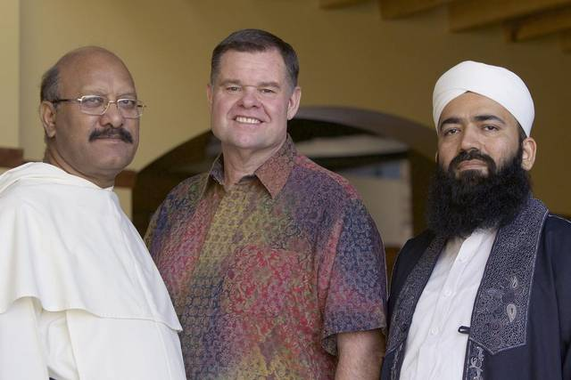From left, Father James Channan of Pakistan, Pastor Bob Roberts of NorthWood Church in Keller and Grand Imam Khateeb Molana Syed Muhammad of the Badshahi Mosque in Lahore, Pakistan