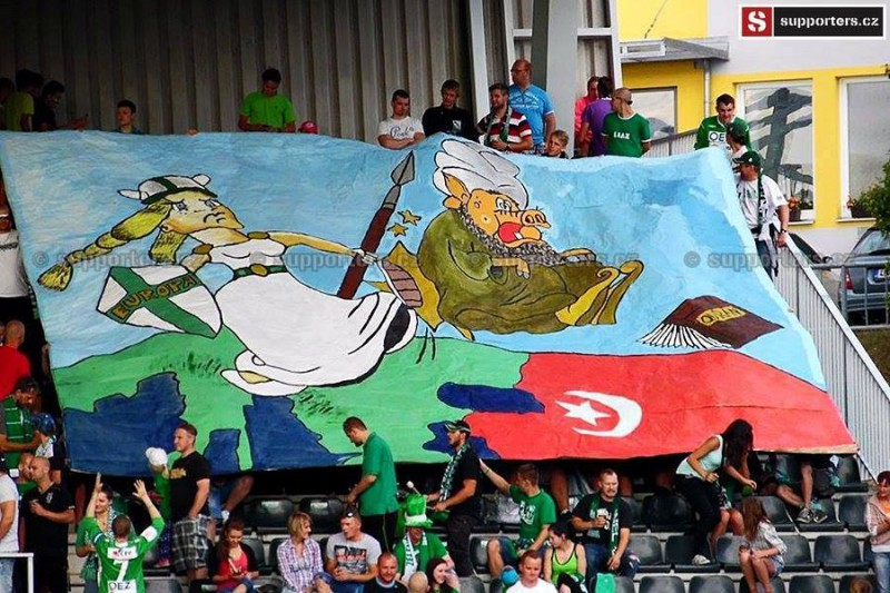 """Giant ban at soccer game shows how Czechs feel about Islam. Posters had already appeared in soccer stadiums with the slogan """"We do not want Islam in Czechia."""""""