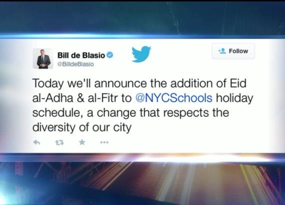 Muslim panderer NYC Mayor Bill DeBlasio quickly caved to Muslim demands for schools to be closed for Muslim holidays