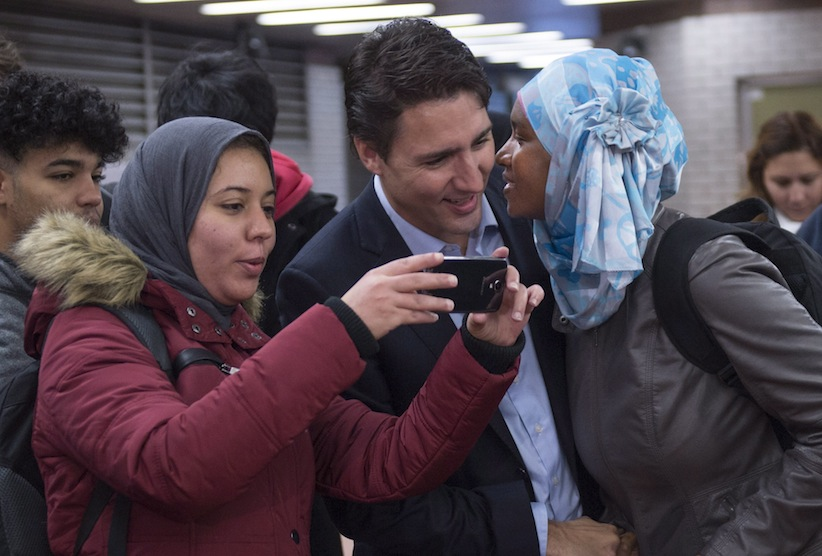 Justin Trudeau in a halal sandwich