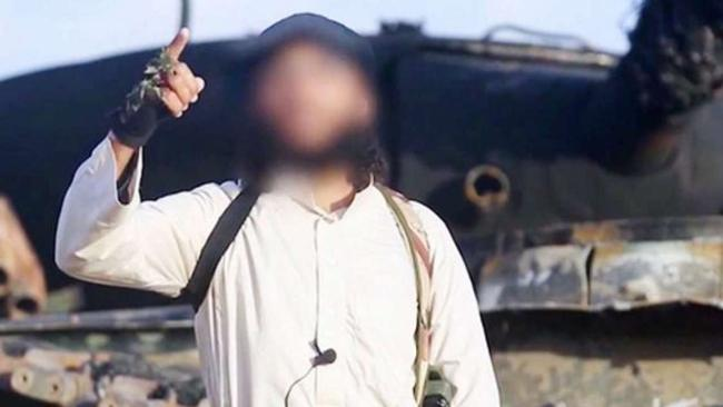 Secretive ISIS leader Abu Osama al-Masri (whose face has been obscured by the terror group in this image) is suspected of blowing up the Russian holiday jet over Egypt killing all 224 people on board