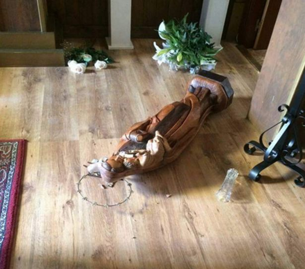 Virgin Mary statue smashed
