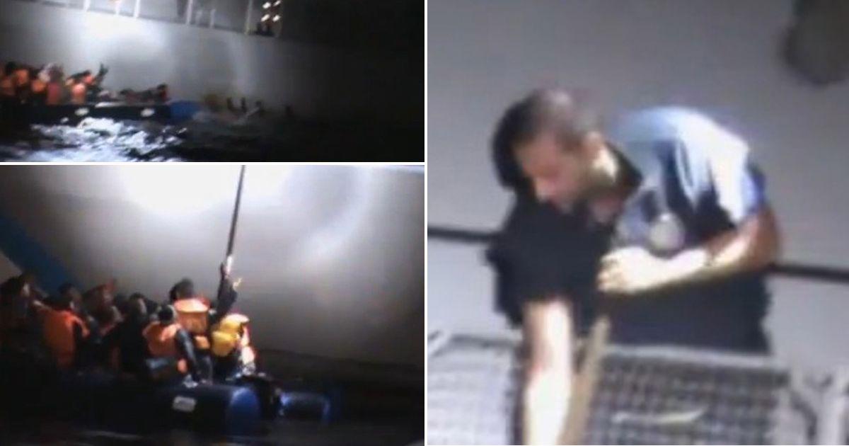 TEASER-griega-costa-guardia-supuestamente-tratar-a-desinflado y disipador de-un-barco-llena-de-los refugiados