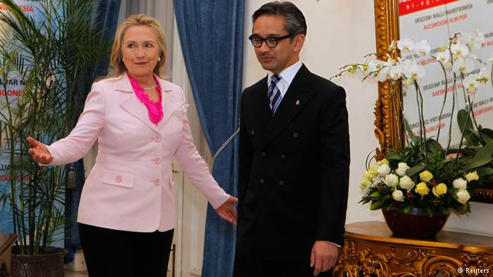Secretary of State Hillary Clinton with Indonesia's Foreign Minister