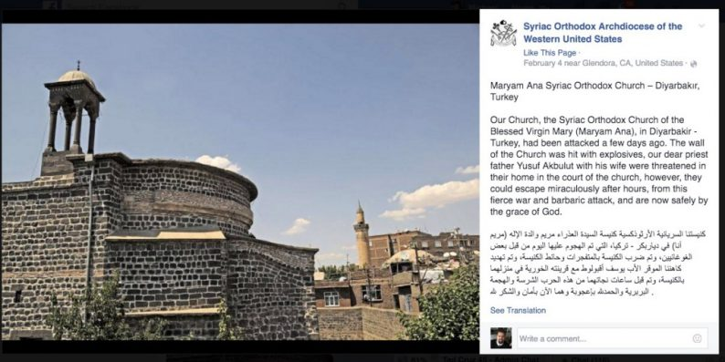 The 1,700-year-old Virgin Mary Syriac Orthodox Church in Diyarbakir was one of the churches seized.