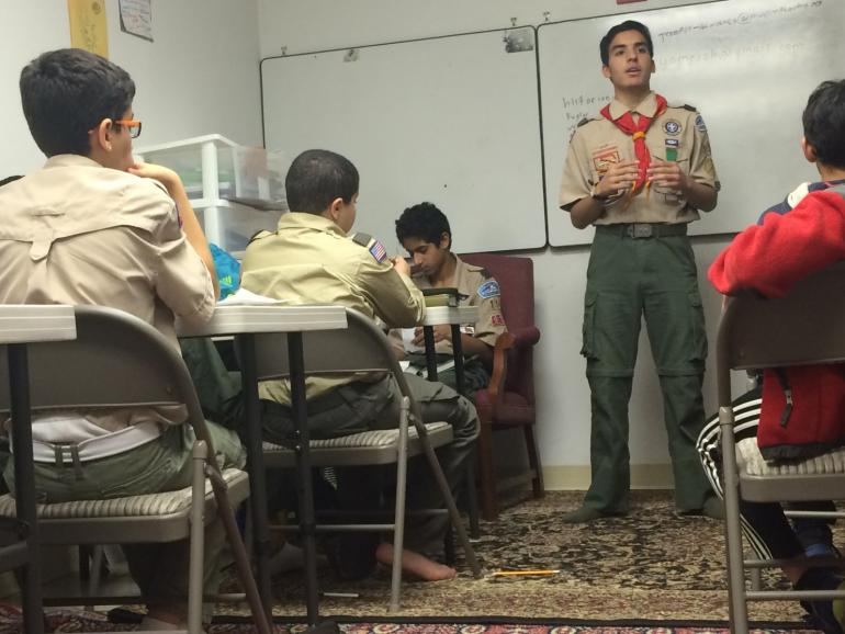 Yousof Omeish, 15, leader of Boy Scout Toop 114, opens and ends the weekly meetings at the Islamic Center of Northern Virginia with prayers.