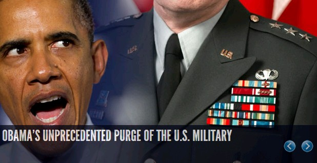 "Obama has managed to purge the military of several hundred high level officers and replaced them with much less qualified individuals to fill some kind of left wing ""diversity"" quotas"
