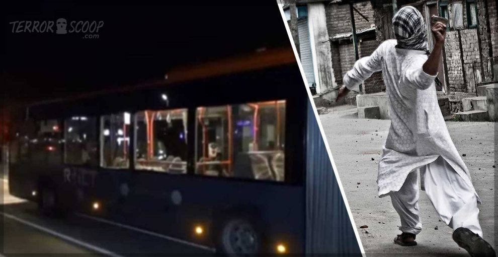 Muslim youths attacking buses with rocks