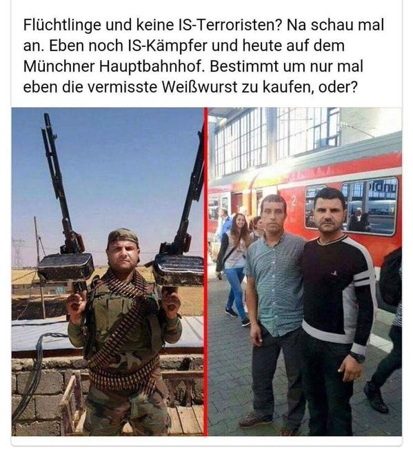 ISIS fighter poses with two very impressive weapons, and just a few short weeks later he stands and poses at the main train station in Munich, Germany.