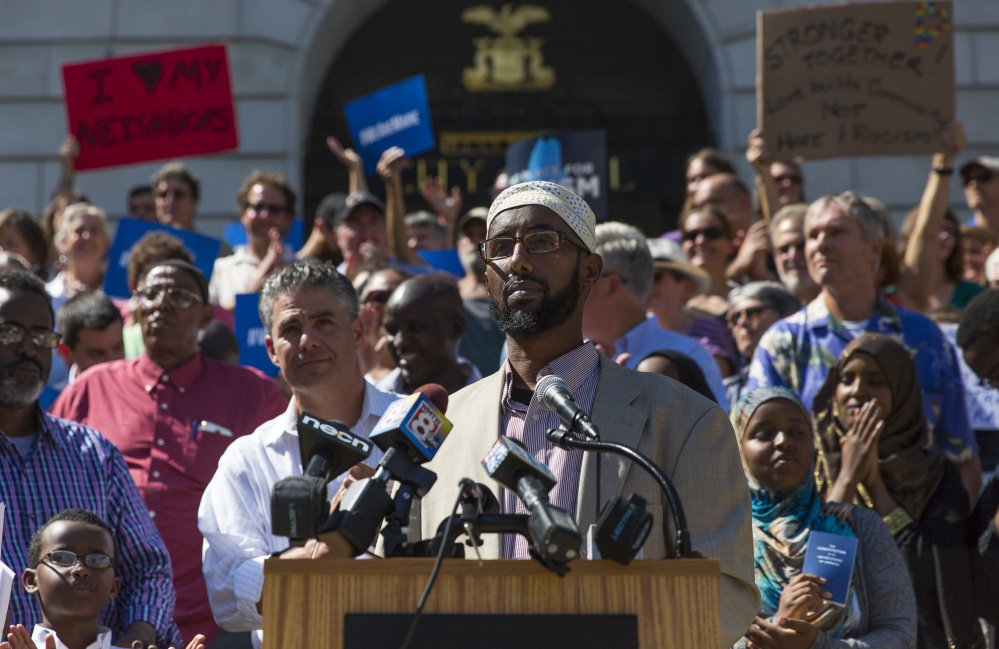 """""""We condemn in the strongest terms such name-calling, scapegoating and lies by Donald Trump,"""" Deqa Dhalac, an executive with the Somali Muslim Community Center of Maine, said during a rally in front of Portland City Hall Friday."""