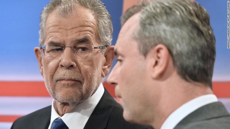 WINNER, pro-Islamization Alexander Van der Bellen of the GREENS far left party, left, and LOSER Norbert Hofer of Freedom Party