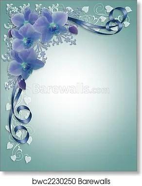 Blue Orchids Wedding Fl Border Art Print Poster