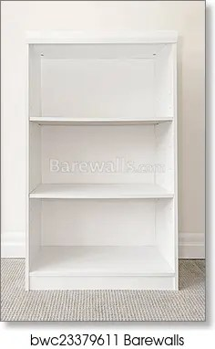 empty white bookshelf art