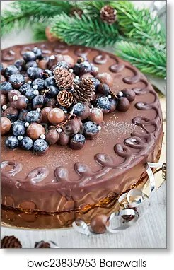 Chocolate Cake Decorated With Fresh Berries Art Print Barewalls