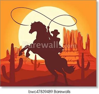 western cowboys silhouette in
