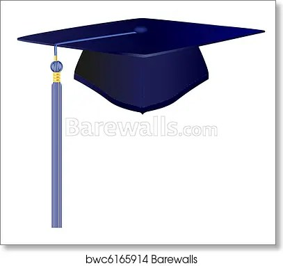 blue graduation cap art