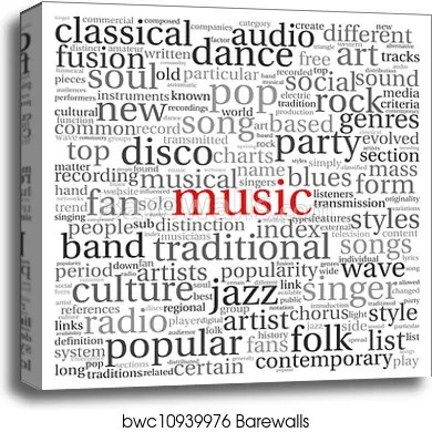 music concept words canvas