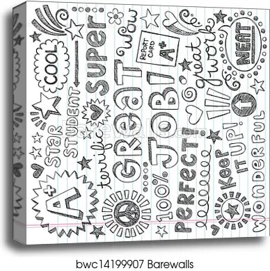 priase encouragement words doodles