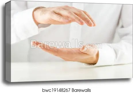 man cupping his hands