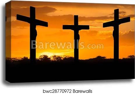 jesus and crosses canvas
