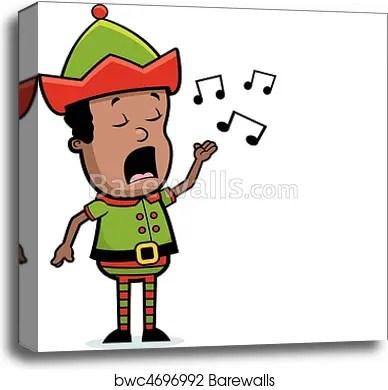 elf singing canvas print