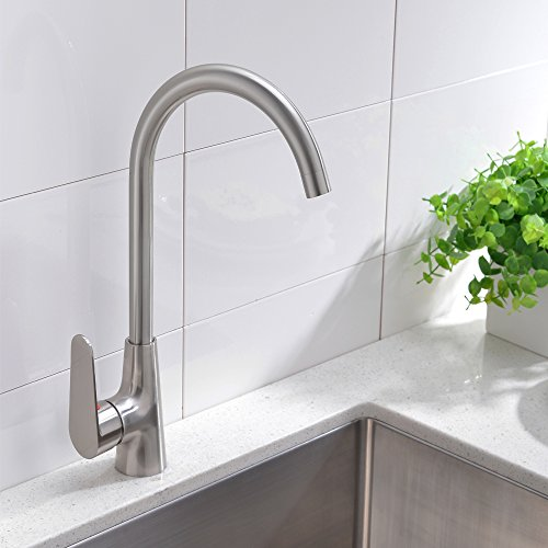 vccucine stainless steel brushed nickel kitchen bar sink faucet single handle 360 degree swivel spout kitchen faucet