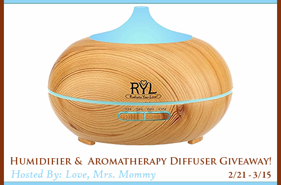 Humidifier & Aromatherapy Diffuser Giveaway! Ends 2.23.2018