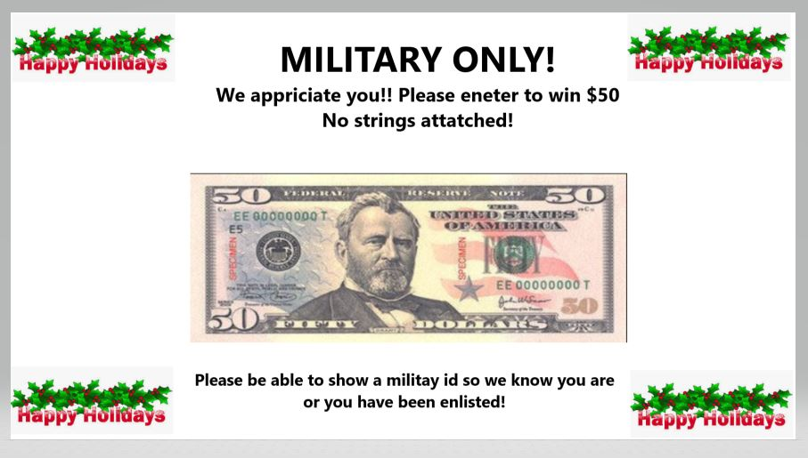 $50 Paypal, Amazon Or Walmart GC MILITARY ONLY CONTEST! Ends Dec