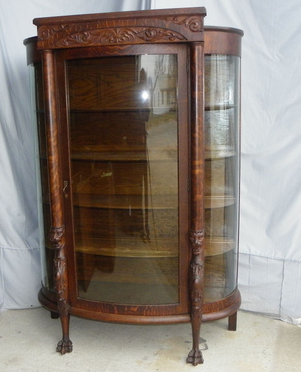 Antique Curved Glass China Cabinet Value