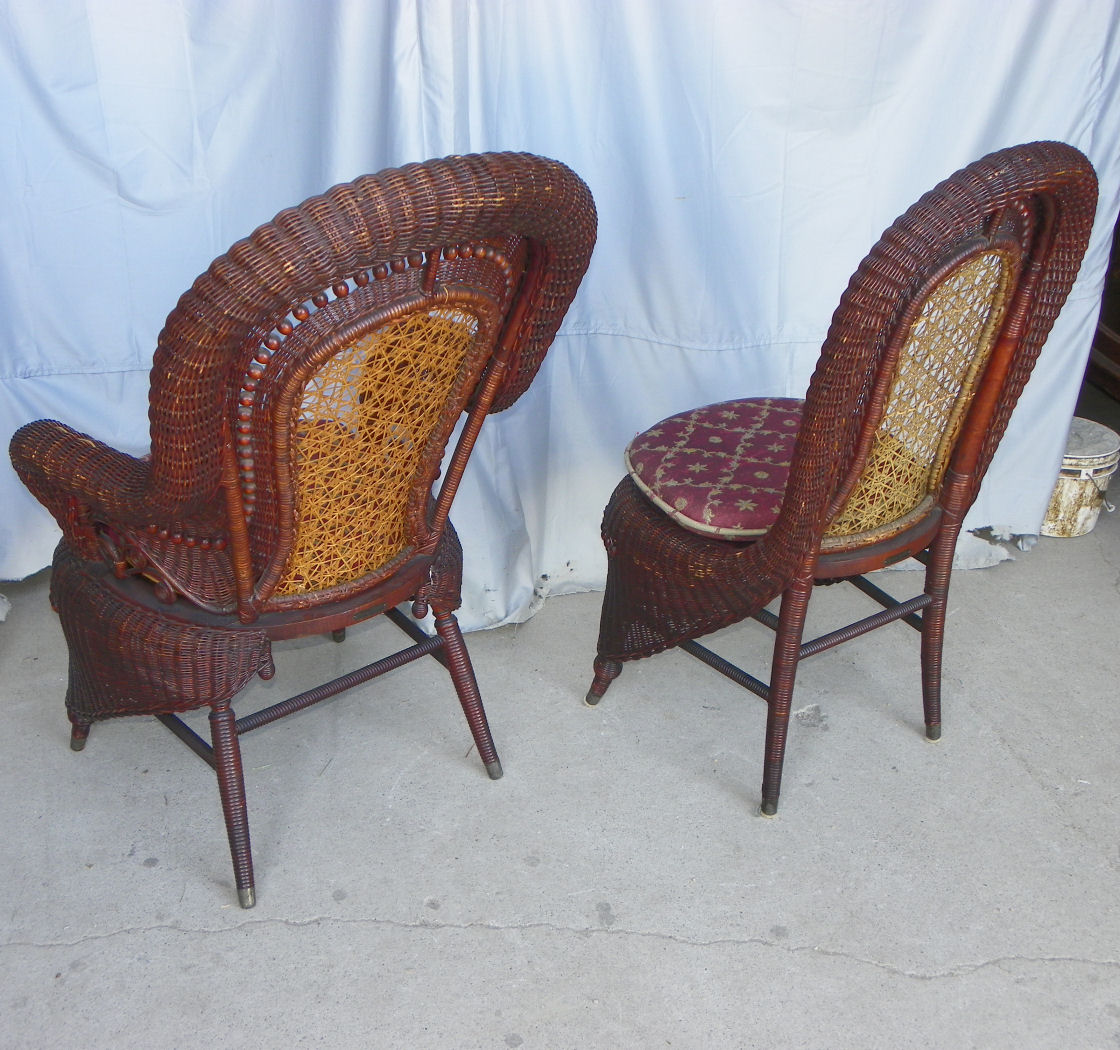 heywood wakefield wicker chairs graco blossom 4 in 1 high chair 2 bargain john 39s antiques antique matching set