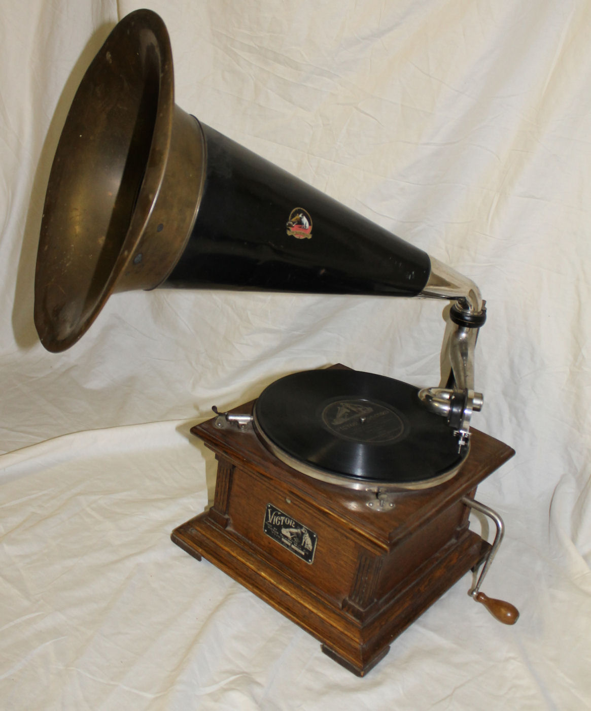 Bargain Johns Antiques  Antique Oak Victor Record Player with Horn and Records  Bargain John