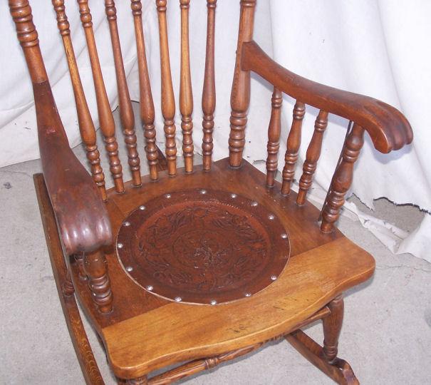 Bargain Johns Antiques  Antique Pressed Back Rocking