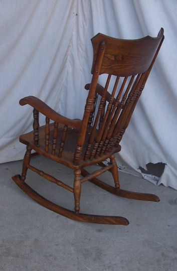iron rocking chair tall directors bargain john's antiques | antique pressed back with - ...