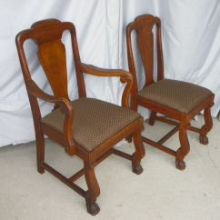 Steel Chair Accessories Target Cushions Kitchens Bargain John's Antiques   Antique Oak T Back Chairs With Claw Feet Original Finish - Set Of Six ...