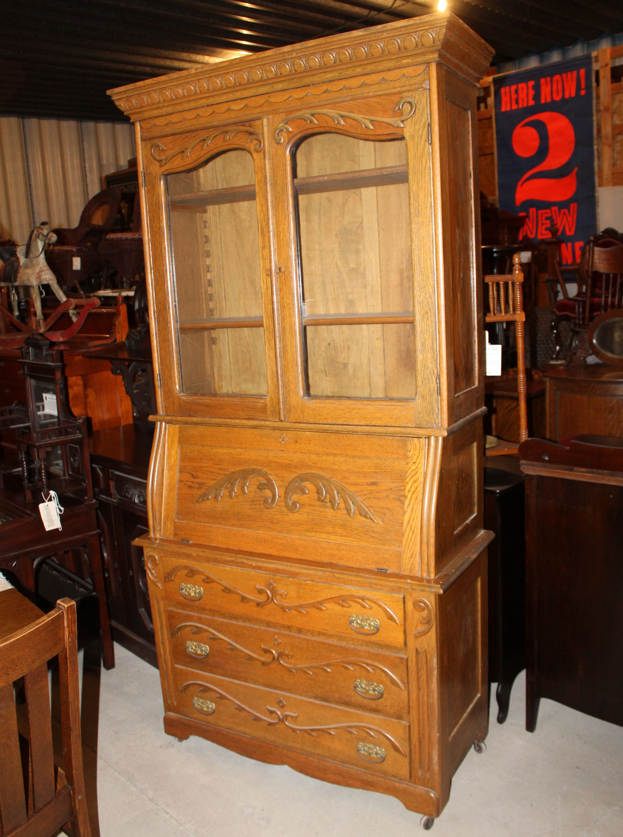 Bargain Johns Antiques  Antique Oak Drop Front Secretary
